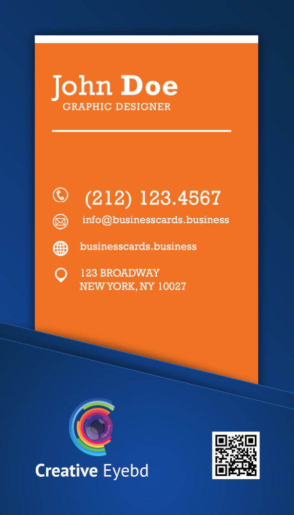 Creative vertical orange business card business cards for Mib business card