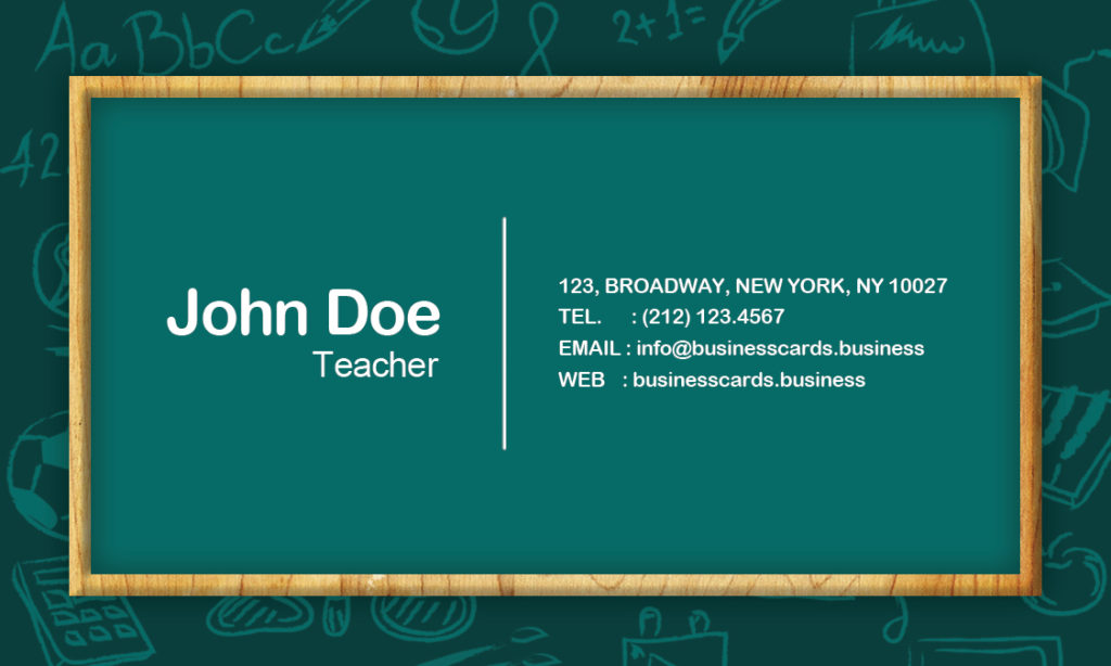 Free Teacher Business Card Template Business Cards Templates - Teacher business cards templates free