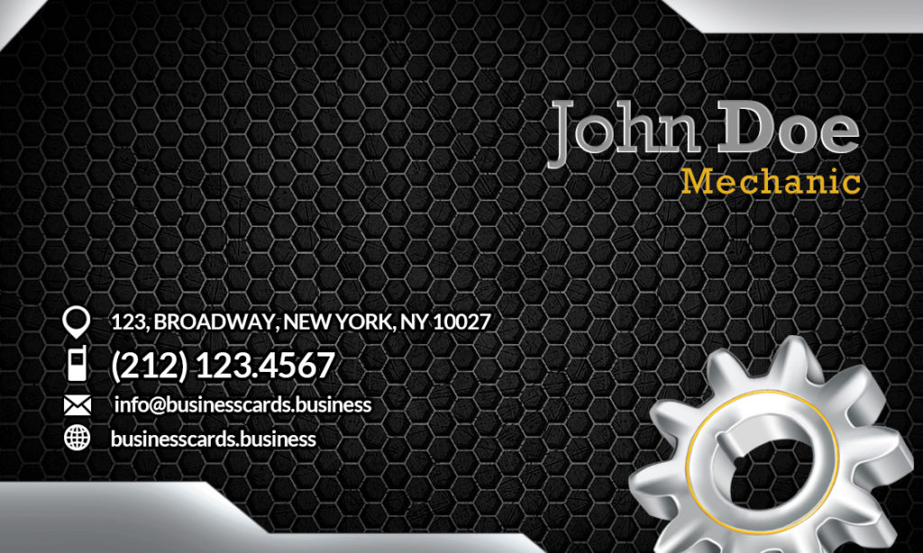 Free Mechanic Business Card Template Business Cards Templates - Mechanic business cards templates free