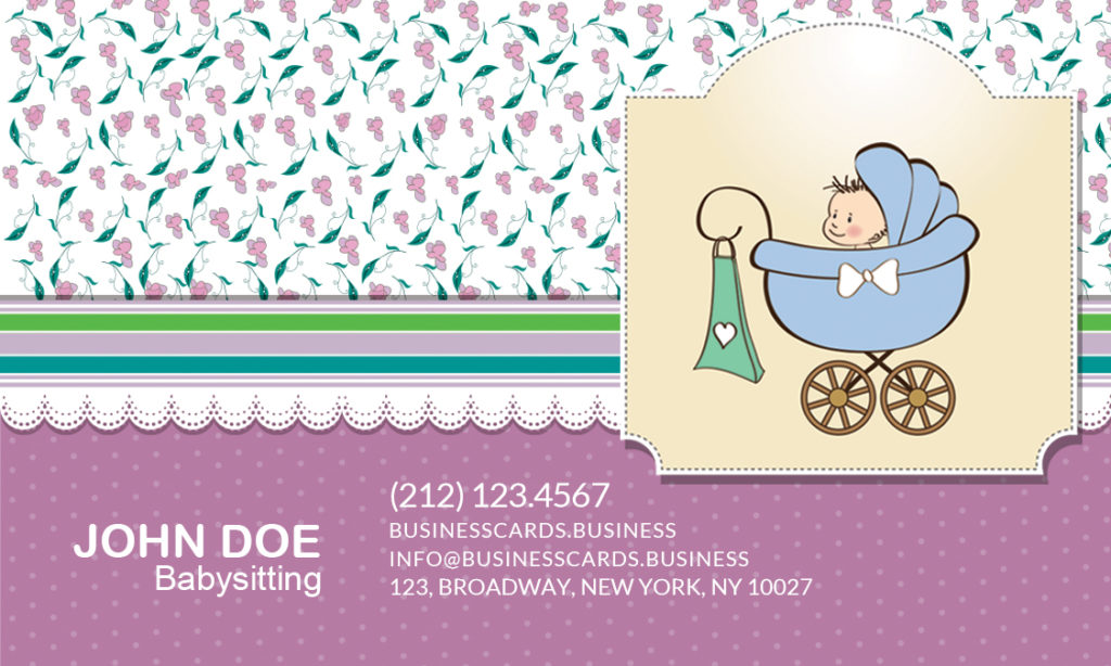 Free Babysitting Business Card Template For Photoshop Business - Babysitting business cards templates free