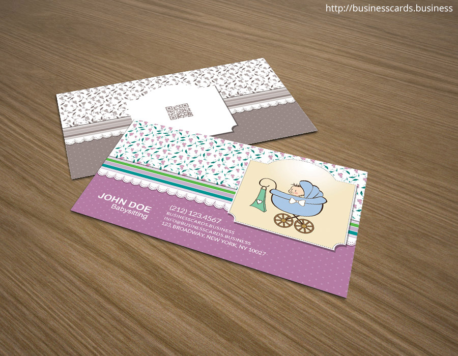 free babysitting business card template for photoshop