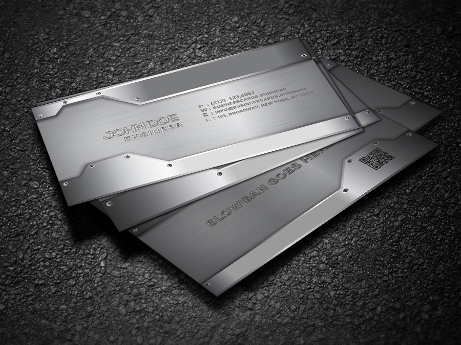free metal business card template for photoshop