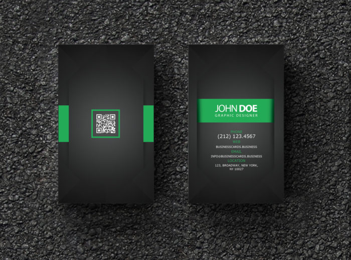 Qr code business card templates business cards templates free business card psd template for graphic designer flashek Images